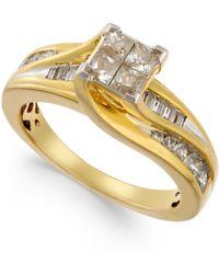 Macy's - Diamond Quad-head Swirl Ring (1 Ct. T.w.) In 14k Gold - Lyst