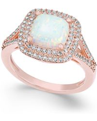 Macy's | Lab-created Opal (1-3/8 Ct. T.w.) And White Sapphire (1/2 Ct. T.w.) Ring In 14k Rose Gold-plated Sterling Silver | Lyst