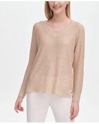 daf7e7a1b8584 Calvin Klein - V-neck Gold-tone Fleck Sweater - Lyst