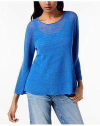 Eileen Fisher - Organic Linen Blend 3/4-sleeve Top, Regular & Petite - Lyst