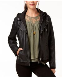 Style & Co. - Petite Hooded Faux-leather Moto Jacket, Created For Macy's - Lyst