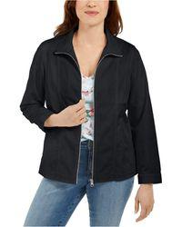 Karen Scott Petite Zippered Jacket, Created For Macy's - Black