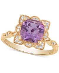 Macy's - Amethyst (2 Ct. T.w.) & Diamond (1/10 Ct. T.w.) Ring In 14k Gold - Lyst