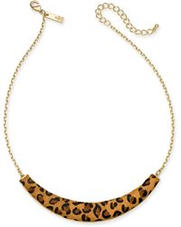 """INC International Concepts - Inc Gold-tone Leopard-print Collar Necklace, 17"""" + 3"""" Extender, Created For Macy's - Lyst"""