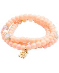 Zenzii Gold-tone Logo Charm Beaded Stretch Bracelet - Pink