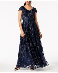 Alex Evenings - Sequined Metallic Embroidered Gown - Lyst
