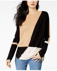 INC International Concepts Inc Petite Colorblocked Shirttail Sweater, Created For Macy's - Black