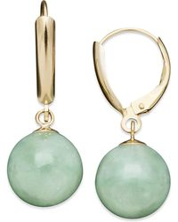 Macy's | 14k Gold Earrings, Jade Bead Drop Earrings | Lyst