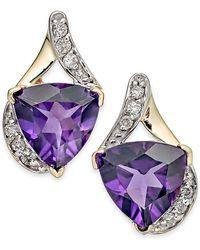Macy's - Amethyst (3-1/2 Ct. T.w.) & Diamond (1/8 Ct. T.w.) Stud Earrings In 14k Gold - Lyst