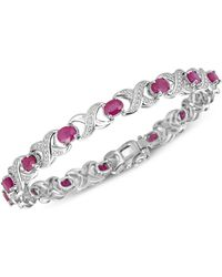 Macy's - Certified Ruby (7 Ct. T.w.) And Diamond Accent Xo Bracelet In Sterling Silver - Lyst