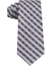 Calvin Klein Leveled Check Slim Silk Tie - Gray