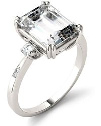 Charles & Colvard Moissanite Emerald Engagement Ring (3-3/4 Ct. Tw.) In 14k White Gold - Metallic