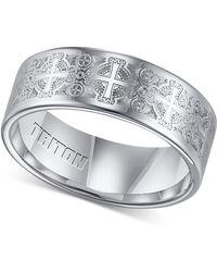 Triton Men's Tungsten Carbide Ring, Comfort Fit Etched Cross Wedding Band - Metallic