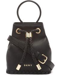 DKNY Leather Winnie Small Bucket - Black