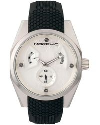 Morphic M34 Series, Silver Silicone Watch, 44mm - Black
