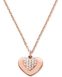 Michael Kors Love Collection Sterling Silver Pave Heart Necklace - Metallic