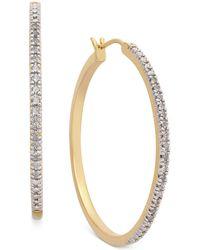 Macy's Diamond Hoop Earrings (1/4 Ct. T.w.) In 14k Gold-plated Sterling Silver - Metallic