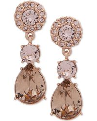 Givenchy - Rose Gold-tone Pink Crystal Drop Earrings - Lyst