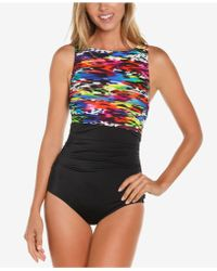Reebok - Mad Dash Printed High-neck One-piece Swimsuit - Lyst
