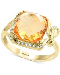 Effy Collection - Effy® Citrine (3-1/8 Ct. T.w.) & Diamond (1/10 Ct. T.w.) Ring In 14k Gold - Lyst