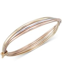 Macy's - Tri-color Overlap Three Bangle Bracelet In 10k Yellow, White And Rose Gold - Lyst