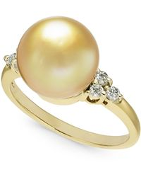 Macy's - Cultured Golden South Sea Pearl (10mm) & Diamond (1/6 Ct. T.w.) Ring In 14k Gold - Lyst