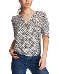 1.STATE Puff - Sleeve Plaid Blouse - Multicolor