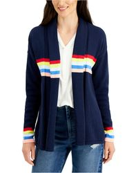 Style & Co. Petite Cotton Striped-detail Open-front Cardigan, Created For Macy's - Blue