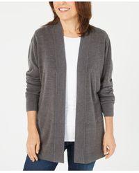 Karen Scott Petite Open-front Cardigan, Created For Macy's - Gray