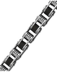 Macy's Men's Stainless Steel Bracelet, Black Resin Bicycle Chain Bracelet - Multicolour