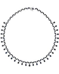 Macy's - Black Sapphire (13 Ct. T.w.) And White Topaz Accent Collar Necklace In Sterling Silver - Lyst