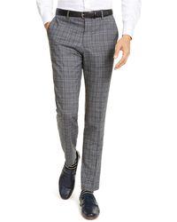 HUGO Slim-fit Stretch Charcoal Plaid Suit Pants - Gray