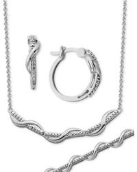 Macy's - Diamond Accent Small Wavy Hoop Earrings, Collar Necklace And Link Bracelet Set In Silver-plate - Lyst