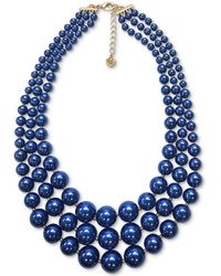 """Charter Club Gold-tone Blue Imitation Pearl Triple-row Statement Necklace, 18"""" + 2"""" Extender, Created For Macy's"""