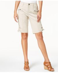 Style & Co. Zipper Bermuda Cargo Shorts, Created For Macy's - Natural