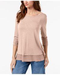aliexpress wide selection of colors sale Chiffon-hem Three-quarter-sleeve Top - Pink