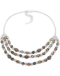 "Nine West - Tri-tone Bead Layered Statement Necklace, 16"" + 2"" Extender - Lyst"