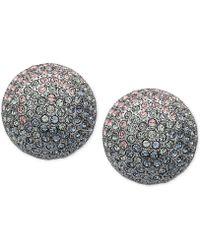 Nina - Silver-tone Pavé Button Earrings - Lyst