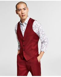 Bar Iii Slim-fit Red Solid Suit Vest, Created For Macy's