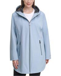 Calvin Klein Plus Size Hooded Raincoat - Blue