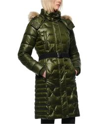 Marc New York Belted Faux Fur Hooded Down Puffer Coat - Green