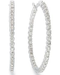 Macy's - Diamond In-and-out Hoop Earrings In 14k White Gold (1 Ct. T.w.) - Lyst