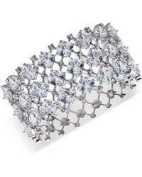 Carolee - Silver-tone Crystal Hinged Cuff Bracelet - Lyst