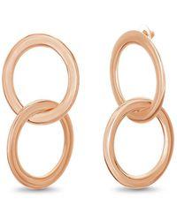 Catherine Malandrino - Interlocking Circle Rose Gold-tone Hoop Earrings - Lyst