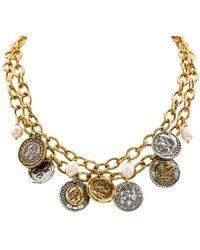 """Patricia Nash Two-tone World Coin & Freshwater Pearl (9mm) 18"""" Double-row Statement Necklace - Metallic"""