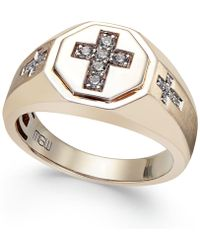 Macy's - Men's Diamond Cross Ring (1/5 Ct. T.w.) In 10k Gold - Lyst