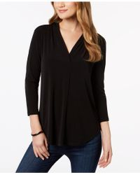 Charter Club - Petite Pleat-neck 3/4-sleeve Top, Created For Macy's - Lyst