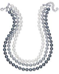Charter Club - Imitation Pearl Ombré Three-row Collar Necklace - Lyst