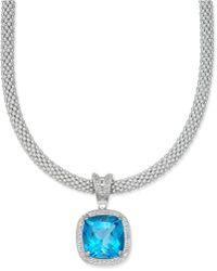 Macy's - Swiss Blue Topaz (14 Ct. T.w.) & Diamond (1/2 Ct. T.w.) Mesh Necklace In Sterling Silver - Lyst