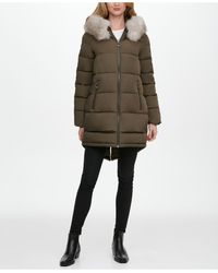 DKNY Faux-fur-trim Hooded Puffer Coat - Multicolor